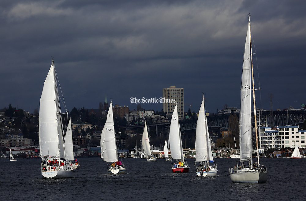 The GooseBumps Sailboat Races, sponsored by Northwest Riggers Yacht Club, take place on Seattle's Lake Union. The races are the last three Sundays in January and the first three in February. In the background is the Ship Canal Bridge. (Ken Lambert/The Seattle Times)