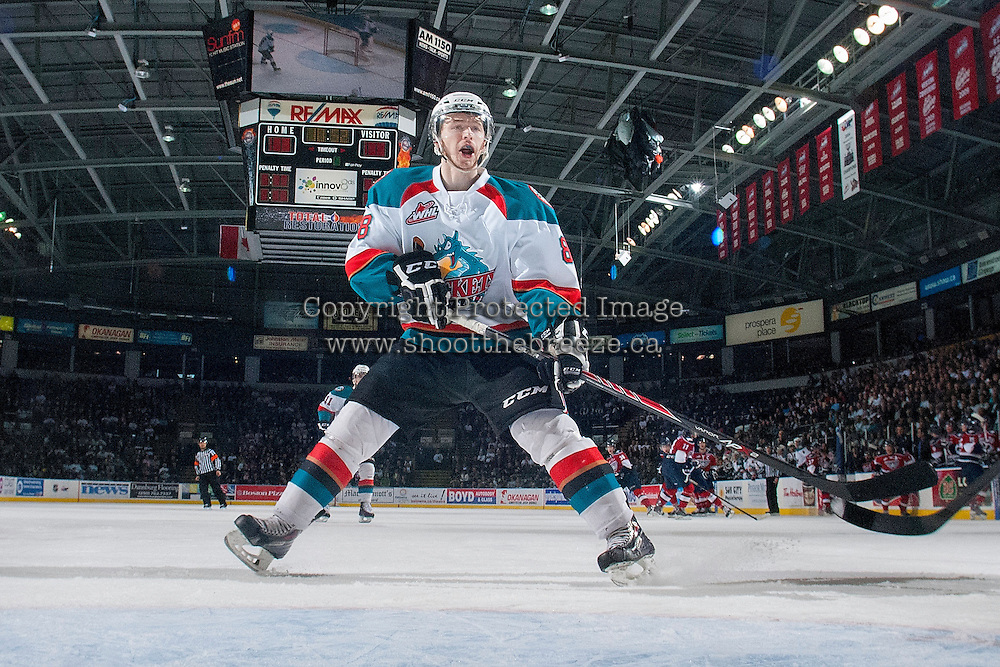 KELOWNA, CANADA - MARCH 23: Colten Martin #8 of the Kelowna Rockets skates against the Tri-City Americans on March 23, 2014 during game 2 of the first round of WHL Playoffs at Prospera Place in Kelowna, British Columbia, Canada.   (Photo by Marissa Baecker/Getty Images)  *** Local Caption *** Colten Martin;