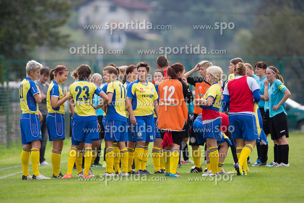 Teams before football match between ZNK Jevnica and ZNK Teleing Pomurje in 3rd Round of Slovenian Women's Football League NZS 2012/13 on September 23, 2012 in Sport park Jevnica, Jevnica, Slovenia. (Photo By Matic Klansek Velej / Sportida)