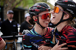 Kasia Niewiadoma (POL) and Alexis Ryan (USA) laugh ahead of the start at Amgen Tour of California Women's Race empowered with SRAM 2019 - Stage 3, a 126 km road race from Santa Clarita to Pasedena, United States on May 18, 2019. Photo by Sean Robinson/velofocus.com