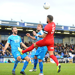 TELFORD COPYRIGHT MIKE SHERIDAN Shane Sutton of Telford wins a header during the Vanarama Conference North fixture between AFC Telford United and Chester at the 1885 Arena Deva Stadium on Saturday, December 21, 2019.<br /> <br /> Picture credit: Mike Sheridan/Ultrapress<br /> <br /> MS201920-035