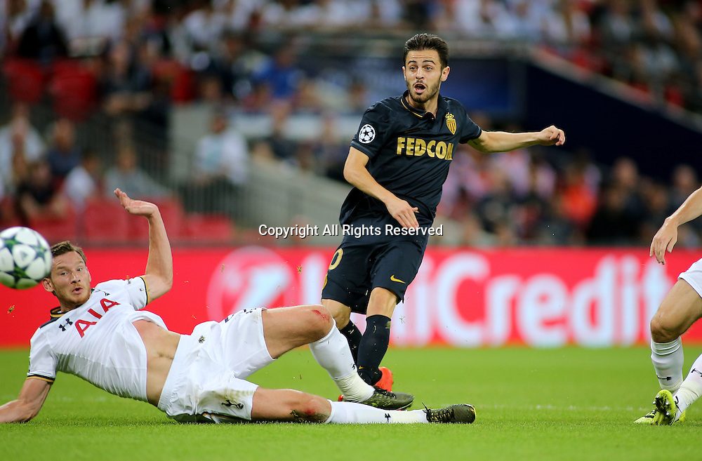14.09.2016. Wembley Stadium, London, England. UEFA Champions League Football. Tottenham Hotspur versus Monaco. AS Monaco Midfielder Bernardo Silva makes it 1-0 Monaco