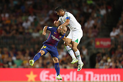 August 7, 2017 - Barcelona, Spain - Javier Mascherano of FC Barcelona duels for the ball with Tulio De Melo of Chapecoense during the 2017 Joan Gamper Trophy football match between FC Barcelona and Chapecoense on August 7, 2017 at Camp Nou stadium in Barcelona, Spain. (Credit Image: © Manuel Blondeau via ZUMA Wire)