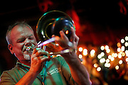 072410-Evergreen, COLORADO-jazzfest-Eric Staffeldt plays the trombone with the Queen City Jazz Band during the 2010 Evergreen Jazz Fest Saturday, July 24, 2010 at the Little Bear..Photo By Matthew Jonas/Evergreen Newspapers/Photo Editor