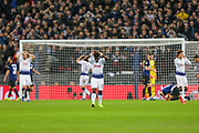 Tottenham players hold their heads after Tottenham Hotspur defender Jan Vertonghen (5) headed a ball wide at very close range during the Champions League group stage match between Tottenham Hotspur and Inter Milan at Wembley Stadium, London, England on 28 November 2018.