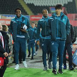 Leroy Fer, Jordan Ayew and Sung-Yueng Ki of Swansea City arrive at the stadium prior to Swansea City vs Arsenal, Premier League, 30.01.18 (c) Harriet Lander | SportPix.org.uk