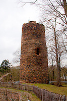 Ruins of an ancient castle tower in Kohren-Salis, Germany.