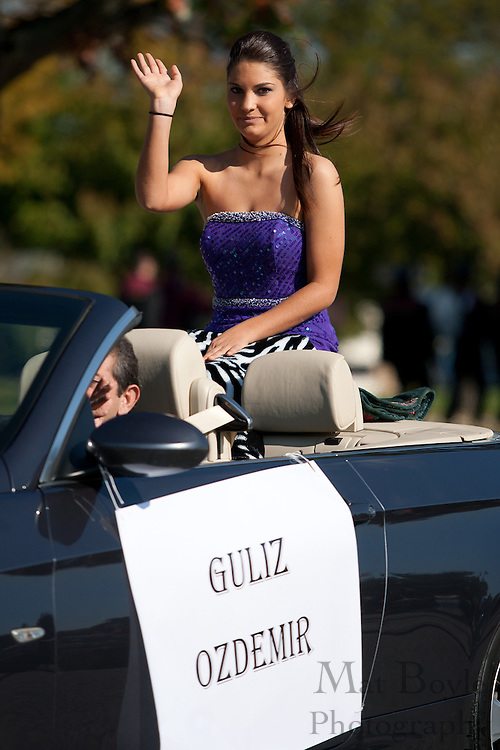 Guliz Ozdemir, a member of the Glassboro High School homecoming court, rides in the Glassboro High School and Rowan University Homecoming Parade on Saturday October 2, 2011. (Photo / Mat Boyle)