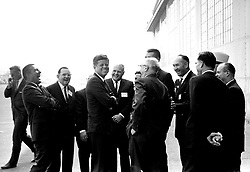 John F. Kennedy, the nation's 35th President, would have turned 100 years old on May 29, 2017. With the centennial anniversary of John F. Kennedy's birth, the former president's legacy is being celebrated across the nation. PICTURED: 1960; Washington, DC, USA; Exact Date unknown. President JOHN F. KENNEDY at the center shares a joke with a with crowd of advisers. .  (Credit Image: John F. Kennedy Library/ZUMAPRESS.com)