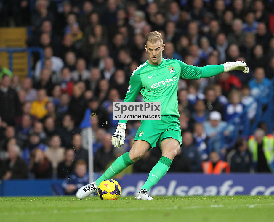 Manchester City's Goalkeeper Joe Hart during the English Premiership match between Chelsea and Manchester City at Stamford Bridge, London on 27th October 2013 © Phil Duncan | SportPix.org.uk