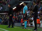 Simeone give orders to his team during the La Liga match between Barcelona and Atletico Madrid at Camp Nou, Barcelona, Spain on 21 September 2016. Photo by Eric Alonso.