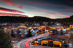 """Downtown Truckee 63"" - Winter sunset photograph of Historic Downtown Truckee, California."