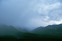 Storm clouds over mountains Denali National Park Alaska USA