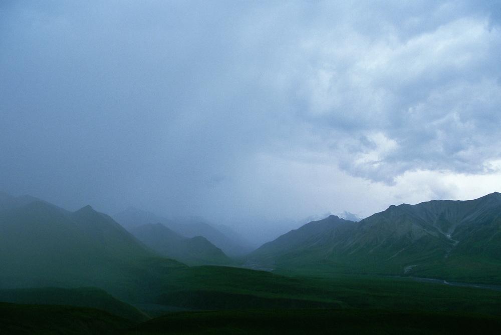 Storm clouds over mountains Denali National Park Alaska USA