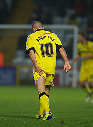STEVENAGE, ENGLAND - Saturday, November 24, 2012: Tranmere Rovers' Andy Robinson feels his hamstring during the Football League One match against Stevenage at Broadhall Way. (Pic by David Rawcliffe/Propaganda)