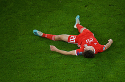 CARDIFF, WALES - Sunday, October 13, 2019: Wales' Daniel James lies injured on the pitch during the UEFA Euro 2020 Qualifying Group E match between Wales and Croatia at the Cardiff City Stadium. (Pic by Paul Greenwood/Propaganda)