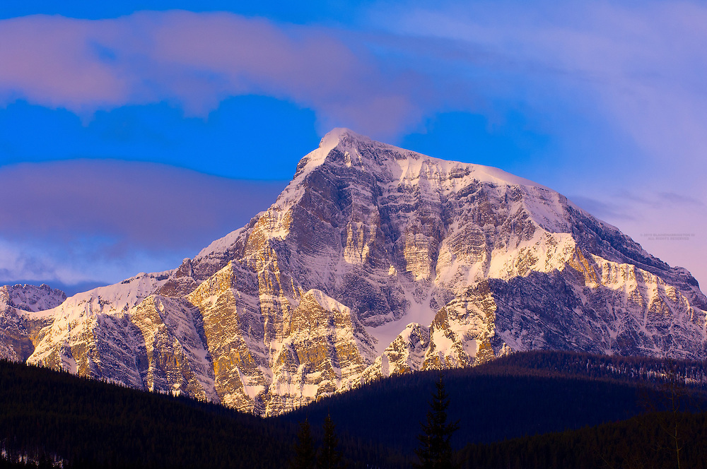 Peaks of the Canadian Rockies near Lake Louise, Banff National Park,  Alberta, Canada