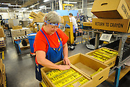FORKS TOWNSHIP, PA - MAY 14: Crayola employees work in the crayon factory making and packaging crayons May 13, 2012 at Crayola in Forks Township, Pennsylvania. (Photo by William Thomas Cain/Cain Images)