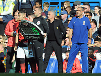 Football - 2018 / 2019 Premier League - Chelsea vs. Manchester United<br /> <br /> Confusion as Manchester United try to make a substitution with Andreas Pereira with Chelsea Manager, Maurizio Sarri complaining about the length of time taken, at Stamford Bridge.<br /> Jose Mourinho (centre)<br /> <br /> COLORSPORT/ANDREW COWIE