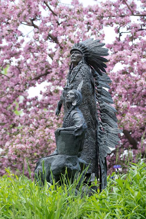 """Springtime"" bronze sculpture by David Manual in the town of Joseph, Oregon."