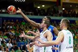 Kevin Seraphin of France vs Jonas Valanciunas of Lithuania during basketball game between National basketball teams of Lithuania and France at FIBA Europe Eurobasket Lithuania 2011, on September 9, 2011, in Siemens Arena,  Vilnius, Lithuania.  (Photo by Vid Ponikvar / Sportida)