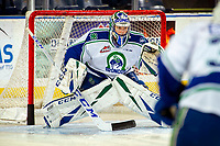 KELOWNA, BC - OCTOBER 16:  Isaac Poulter #1 of the Swift Current Broncos warms up in net against the Kelowna Rockets at Prospera Place on October 16, 2019 in Kelowna, Canada. (Photo by Marissa Baecker/Shoot the Breeze)