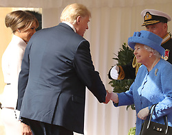 The Queen and US President Donald Trump inspect the Guard of Honour before watching the military march past at Windsor Castle, Windsor, Berkshire, UK, on the 13th July 2018. Picture by Chris Jackson/WPA-Pool. 13 Jul 2018 Pictured: Melania Trump, Donald Trump, Queen, Queen Elizabeth. Photo credit: MEGA TheMegaAgency.com +1 888 505 6342