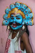 Khali mask for Raas festival<br /> Mising Tribe (Mishing or Miri Tribe)<br /> Majuli Island, Brahmaputra River<br /> Largest river island in India<br /> Assam,  ne India