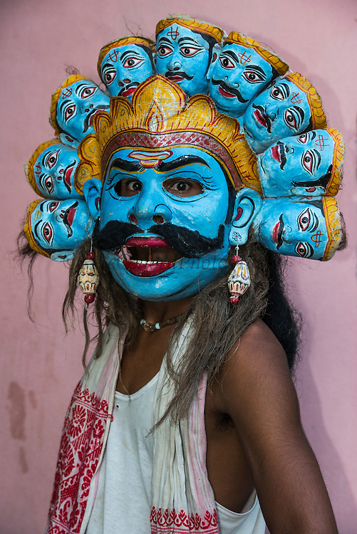 Khali mask for Raas festival<br /> Mising Tribe (Mishing or Miri Tribe)<br /> Majuli Island, Brahmaputra River<br /> Largest river island in India<br /> Assam,  ne India