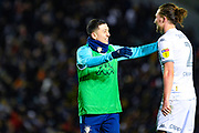 Leeds United forward Ian Poveda (7) reacts with Leeds United defender Luke Ayling (2) during the EFL Sky Bet Championship match between Leeds United and Millwall at Elland Road, Leeds, England on 28 January 2020.