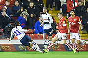 Daniel Johnson (11) of Preston North End FC shoots at goal and scores to make it 2-0 to Preston North End during the EFL Sky Bet Championship match between Barnsley and Preston North End at Oakwell, Barnsley, England on 21 January 2020.
