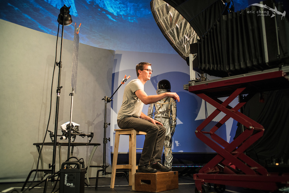 Michael Shindler sets up his tintype studio. Tested.com live show, Oct 23, 2015, Castro Theater, San Francisco.