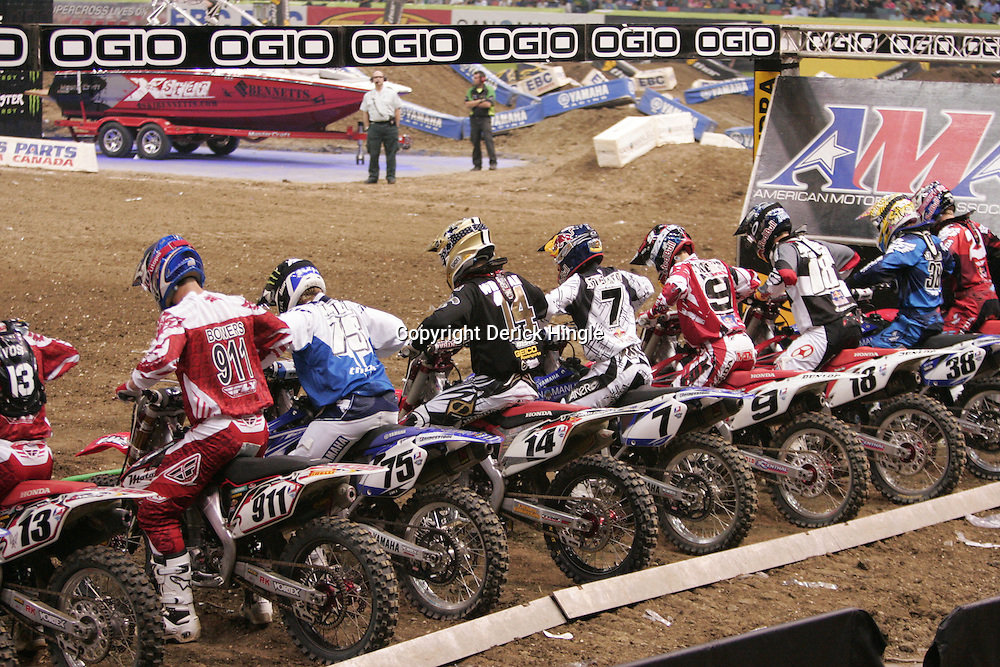 14 March 2009: Riders prepare to race in the Main Event during the Monster Energy AMA Supercross race at the Louisiana Superdome in New Orleans, Louisiana