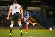Gareth Evans with an effort on goal during the Capital One Cup match between Portsmouth and Derby County at Fratton Park, Portsmouth, England on 12 August 2015. Photo by Adam Rivers.