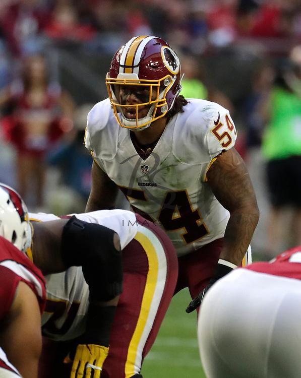 Washington Redskins inside linebacker Mason Foster (54) during an NFL football game against the Arizona Cardinals, Sunday, Dec. 4, 2016, in Glendale, Ariz. (AP Photo/Rick Scuteri)