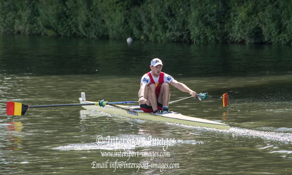 Henley on Thames. United Kingdom.      Semi Final Diamong Sculld Challenge Cup BEL M1X H OBRENO, off the start. Saturday,  02/07/2016,      2016 Henley Royal Regatta, Henley Reach.   [Mandatory Credit Peter Spurrier/ Intersport Images]