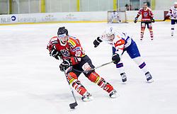 Daniel Welser of Austria vs Rok Leber of Slovenia during Friendly Ice-hockey match between National teams of Slovenia and Austria on April 19, 2013 in Ice Arena Tabor, Maribor, Slovenia.  Slovenia defeated Austria 5-2. (Photo By Vid Ponikvar / Sportida)