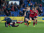 8th May 2018, Global Energy Stadium, Dingwall, Scotland; Scottish Premiership football, Ross County versus Dundee; Paul McGowan of Dundee goes away from Jamie Lindsay of Ross County