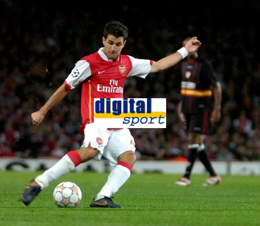 Photo: Ed Godden/Sportsbeat Images.<br /> Arsenal v Sevilla. UEFA Champions League Group H. 19/09/2007. Arsenal's Cesc Fabregas scores.