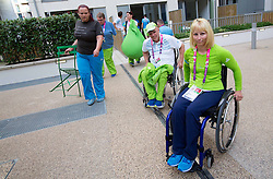 Franc Pinter and Mateja Pintar of Slovenia in Paralympic village during Day 9 of the Summer Paralympic Games London 2012 on September 8, 2012, in Paralympic village, London, Great Britain. (Photo by Vid Ponikvar / Sportida.com)