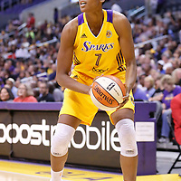 15 August 2014: Los Angeles Sparks forward/center Sandrine Gruda (7) eyes the basket during the Los Angeles Sparks 77-65 victory over the Seattle Storm, at the Staples Center, Los Angeles, California, USA.