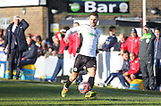 Dover Athletic Nick Deverdics on the ball during the The FA Cup Third Round match between Dover Athletic and Crystal Palace at Crabble Athletic Ground, Dover, United Kingdom on 4 January 2015. Photo by Phil Duncan.