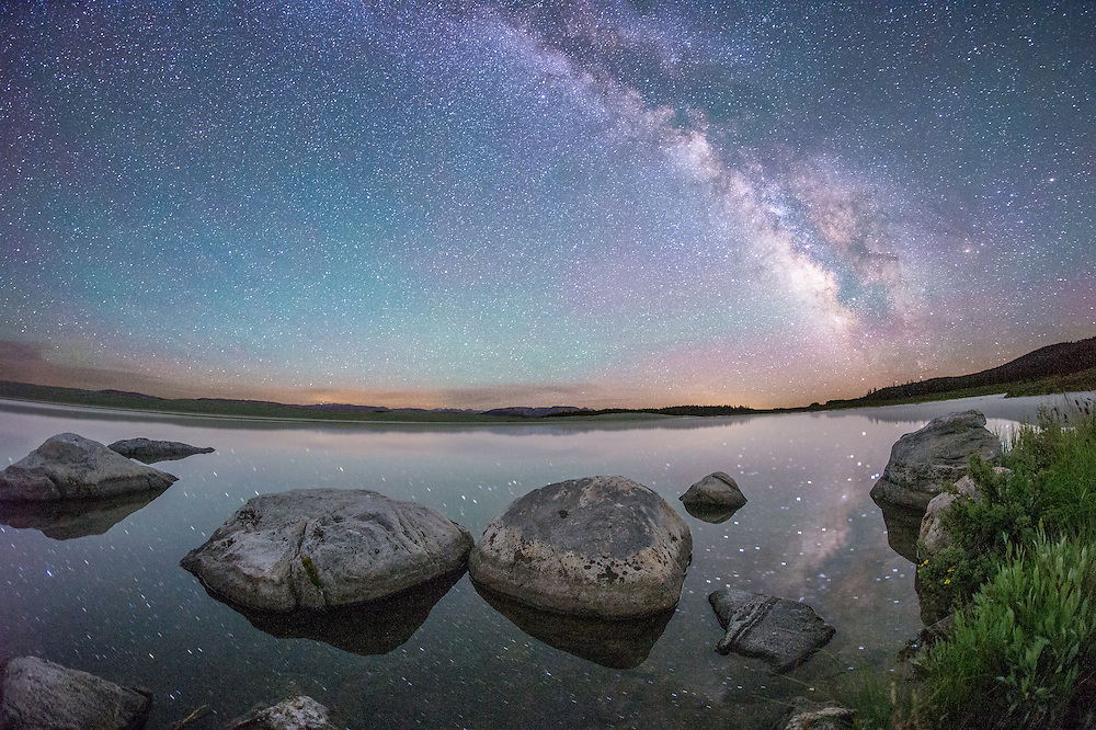 A fisheye view of the Milky Way over Mosquito Lake, in the Wind River Range, Wyoming.<br />