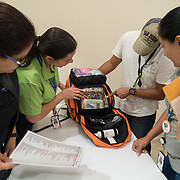 OCTOBER 6, 2017--RINCON, PUERTO RICO ---<br /> Costa Salud Hospital staff inspect Emergency fMedical Packs delivered by Direct Relief personnel following the path of Hurricane Maria through Puerto Rico.<br /> (Photo by Angel Valentin/Freelance)