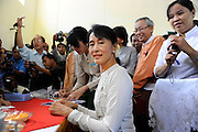 The National League of Democracy (NLD) head, Pro-democracy leader Aung San Suu Kyi registers to run in a by-election, for the  parliamentary seat in Kawhmu, in polls on April 1st, 2012. Thanlynn Electoral Commission Office, Januaray 18, 2012....