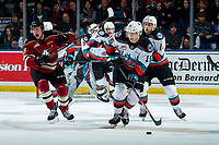 KELOWNA, BC - FEBRUARY 15: Dallon Wilton #15 of the Kelowna Rockets skates with the puck against the Red Deer Rebels at Prospera Place on February 15, 2020 in Kelowna, Canada. (Photo by Marissa Baecker/Shoot the Breeze)