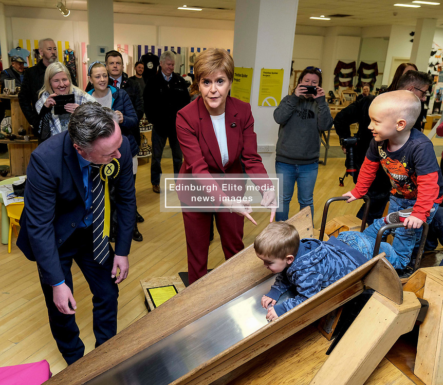 """Nicola Sturgeon begins election campaign in Stirling, Wednesday, 30th October 2019<br />  <br /> Scotland's First Minister and leader of the Scottish National Party Nicola Sturgeon joined Alyn Smith, the SNP's candidate for Stirling, on the campaign trail in Stirling today.<br />  <br /> The First Minister vowed to """"take the fight to the Tories"""" in a general election, to escape from Brexit and let Scotland decide its own future.<br />  <br /> Speaking ahead of her visit, Nicola Sturgeon said:<br />  <br /> """"The SNP is ready for an election. We stand ready to take the fight to the Tories, to bring down this undemocratic government, and give Scotland the chance to escape from Brexit and decide our own future.<br />   <br /> """"Scotland has been ignored and treated with contempt by Westminster, and this election is an opportunity to bring that to an end.<br />  <br /> """"A win for the SNP will be an unequivocal and irresistible demand for Scotland's right to choose our own future.""""<br />  <br /> The First Minister also met with staff and local children to see and discuss the Stirling Spider Slide exhibition.<br /> <br /> Pictured: Nicola Sturgeon MSP and Alyn Smith MEP walk around Stirling and meet locals and activists<br /> <br /> Alex Todd   Edinburgh Elite media"""