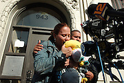 The parents of David Pacheco Jr. age 2, David Pacheco and Joanne Sanabria, are seen at a press conference talking about their son who was killed on Easter from a stray bullet, outside their home in the Bronx, NY. 4/17/2006 Photo by Jennifer S. Altman