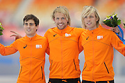 """(L-R) Jan Smeekens, Michel Mulder, Ronald Mulder (NED), <br /> FEBRUARY 10, 2014 - Speed Skating : <br /> Men's 500m <br /> at """"ADLER ARENA"""" Speed Skating Center <br /> during the Sochi 2014 Olympic Winter Games in Sochi, Russia. <br /> (Photo by Yusuke Nakanishi/AFLO SPORT) [1090]"""