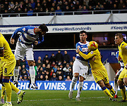 QPR Forward Charlie Austin scores a header during the Sky Bet Championship match between Queens Park Rangers and Leeds United at the Loftus Road Stadium, London, England on 28 November 2015. Photo by Andy Walter
